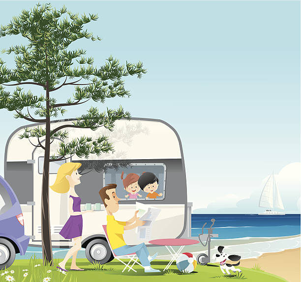 stockillustraties, clipart, cartoons en iconen met camping - newspaper beach