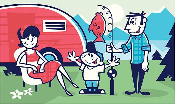 camping - angelurlaub stock-grafiken, -clipart, -cartoons und -symbole