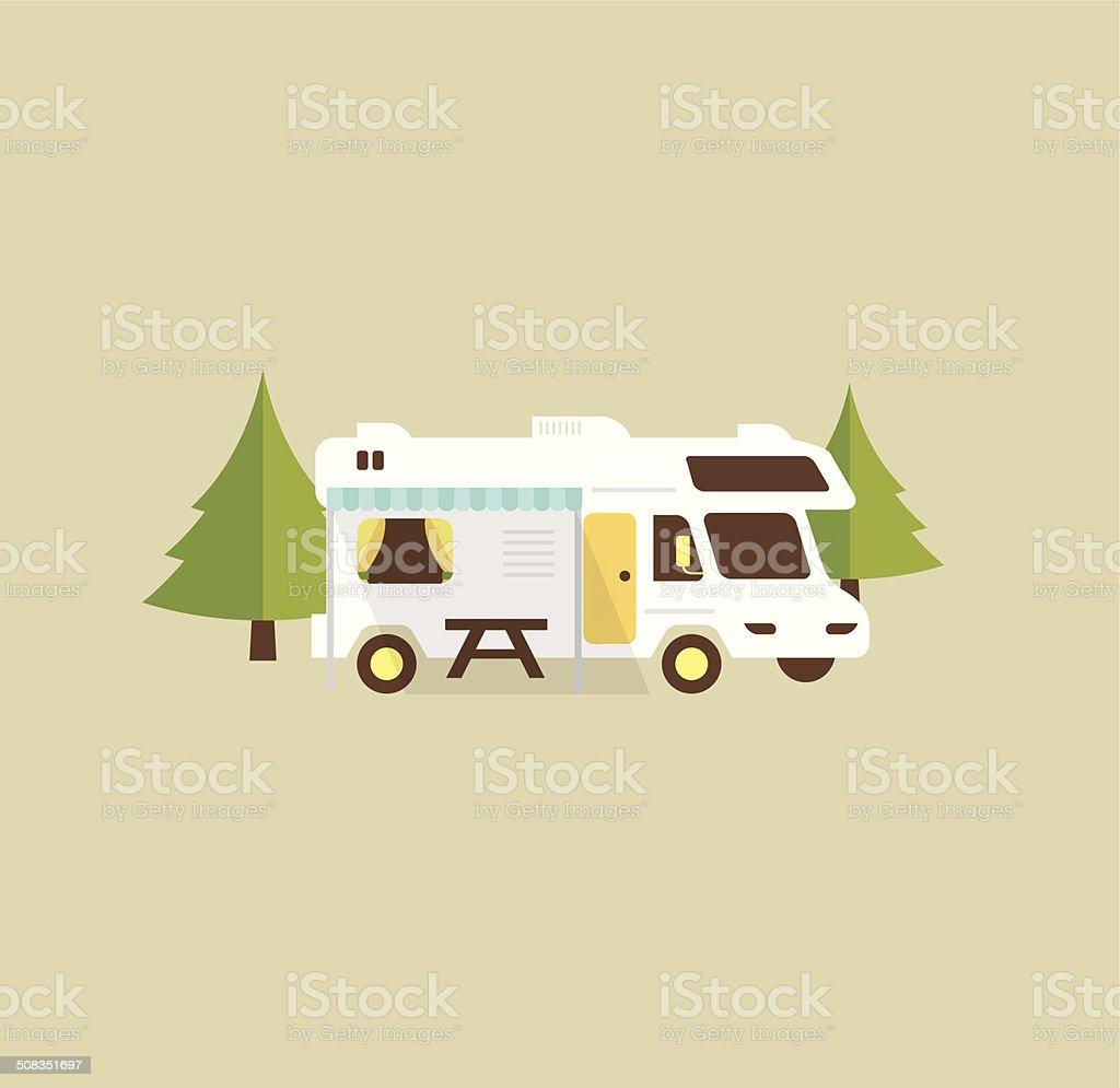 RV camping vector art illustration