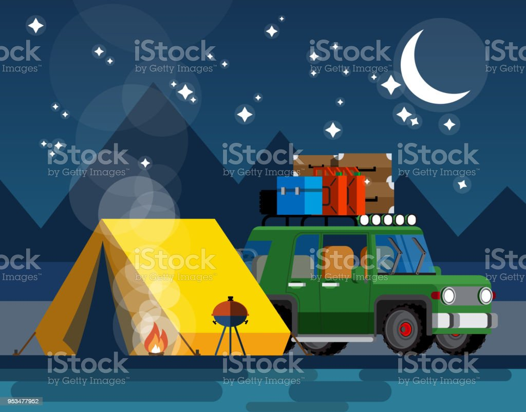 Camping. Car with a tent and bonfire in the evening in a flat style....