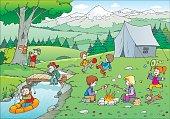 Illustration of children camping.