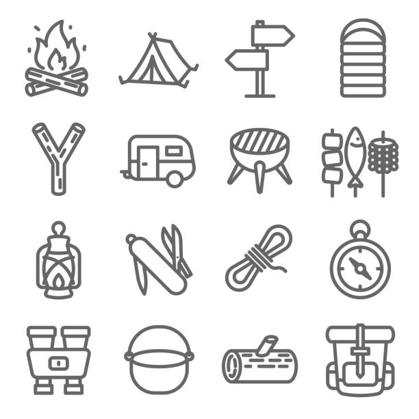 camping vector line icon set. contains such icons as caravan, sleeping bag, tent, binoculars, backpack and more. expanded stroke - wayfinding icons stock illustrations, clip art, cartoons, & icons