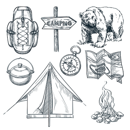 Camping vector sketch illustration. Camp stuff design elements isolated on white background