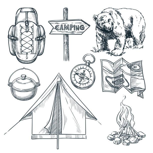 illustrazioni stock, clip art, cartoni animati e icone di tendenza di camping vector sketch illustration. camp stuff design elements isolated on white background - falò