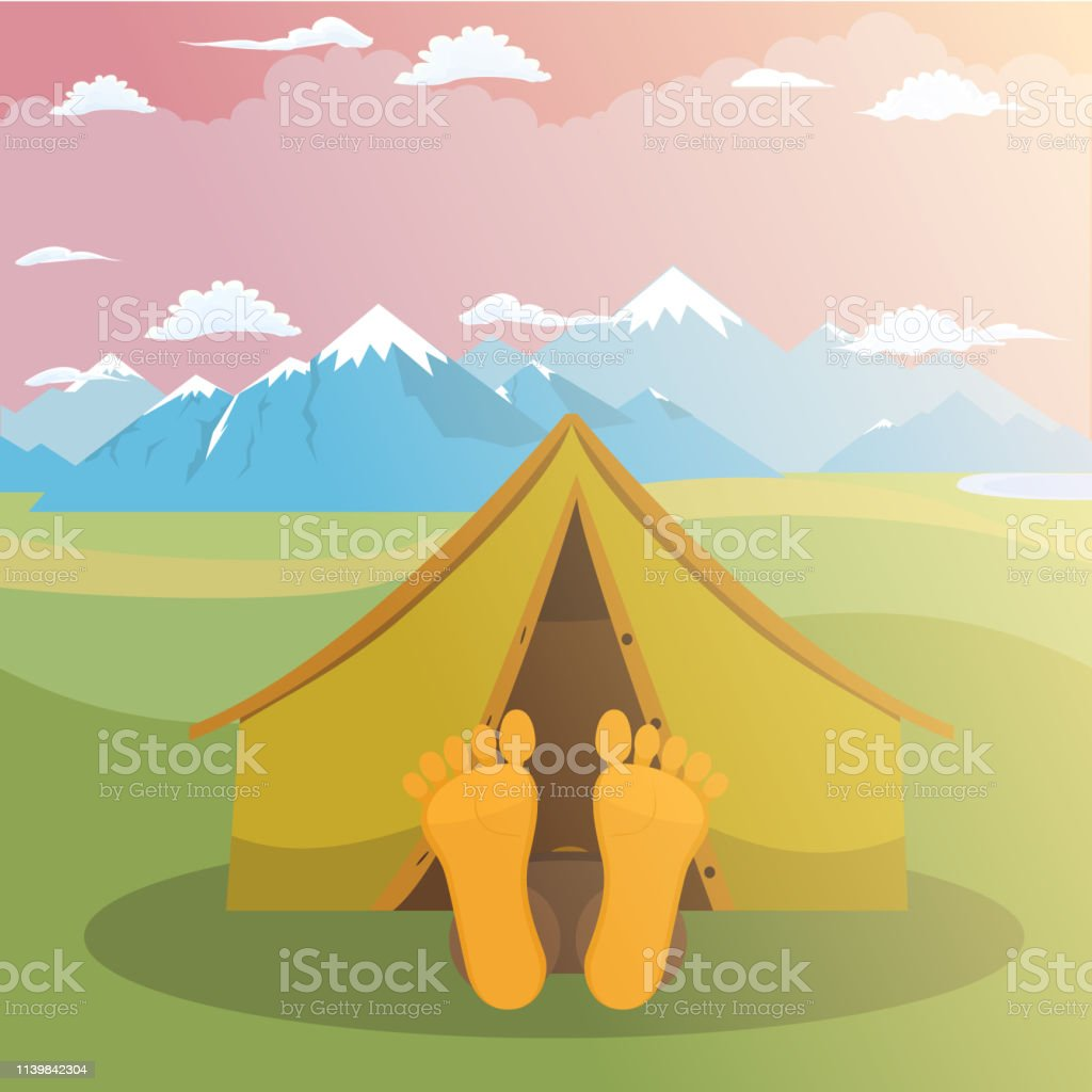 Camping weekend. Man is sleeping in a tent. Mountain peak and meadow...