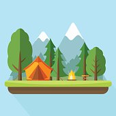 Camping with tend and bonfire and nature landscape. Flat style vector illustration.