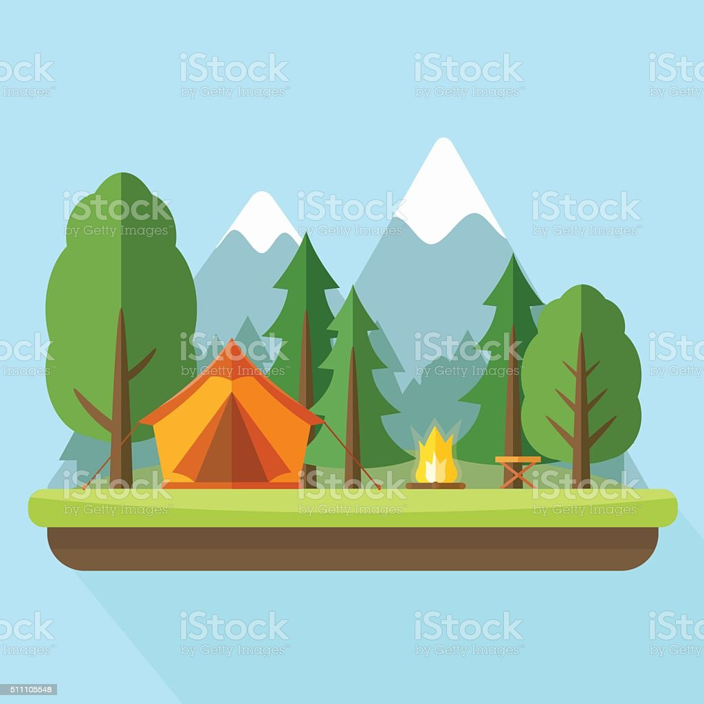 Camping with tend bonfire and nature landscape. vector art illustration