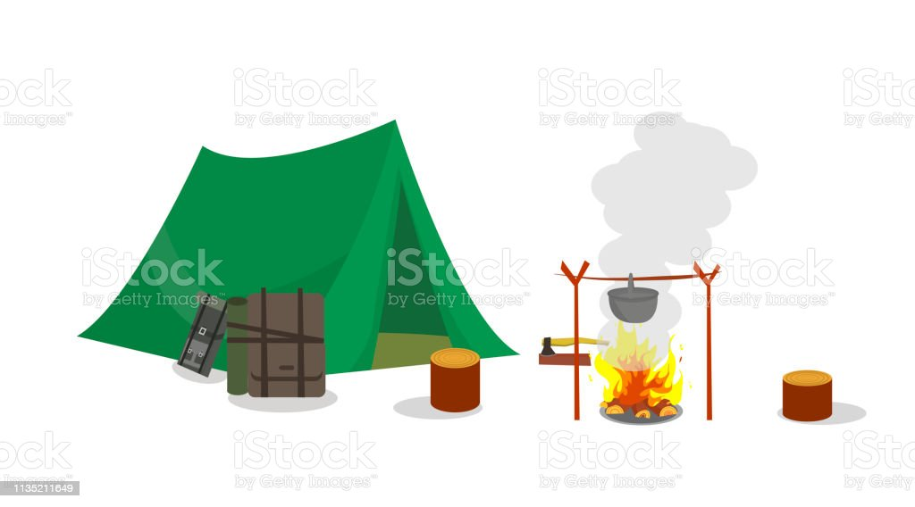 Camping with Tent and Overnight Stay on Weekends. Vector Illustration...