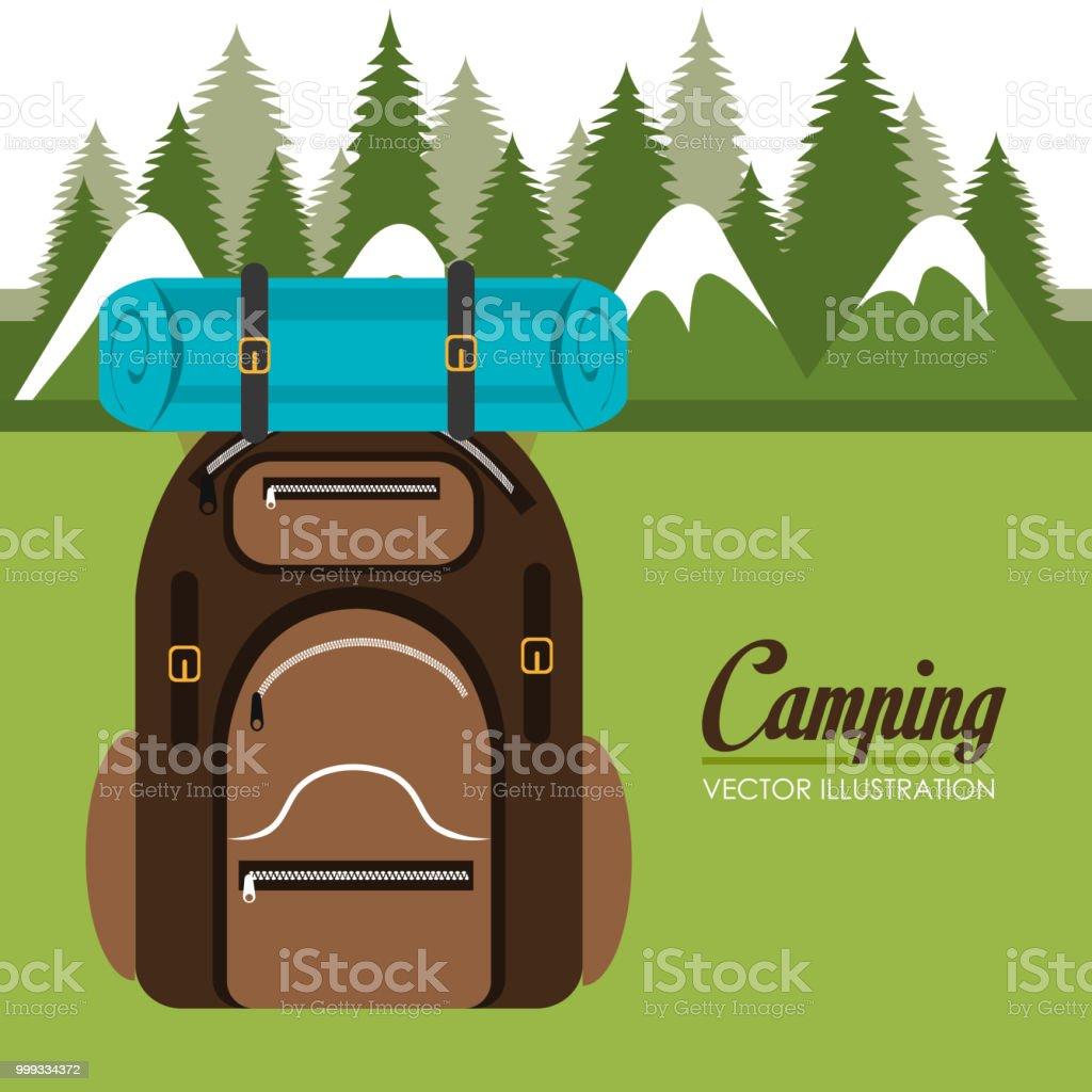 camping zone with equipment scene vector illustration design