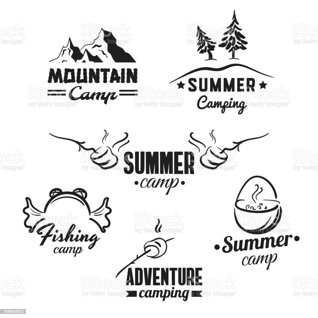 Camping_Badges_Set vector art illustration