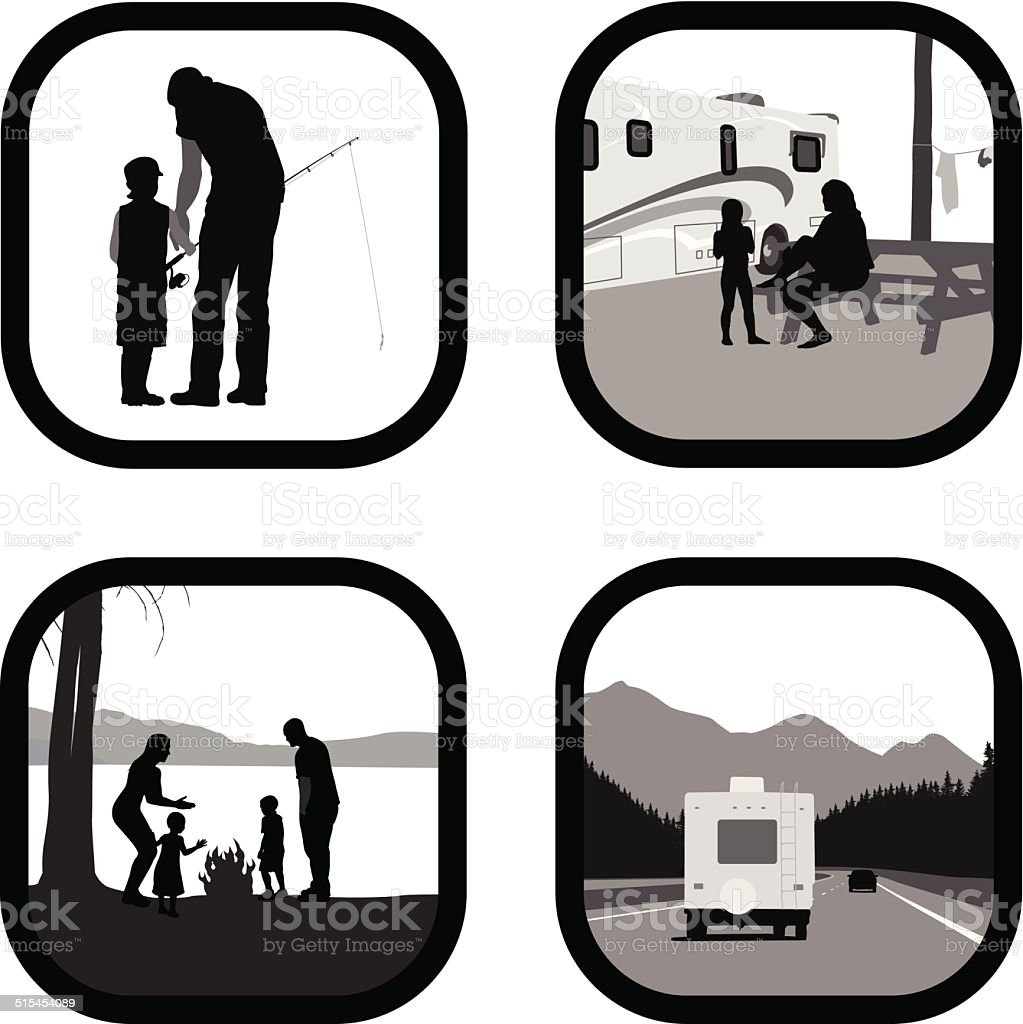 CampingWithFamily vector art illustration