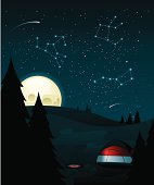 Campsite at night with constellations. All colors are global. Linear and radial gradients used.