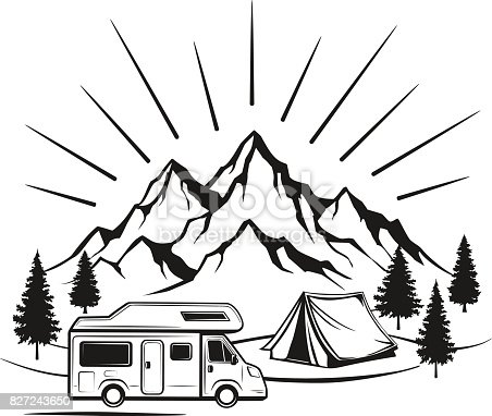 Campsite with camper caravan,  tent, rocky mountains, pine forest. family vacation  outdoor scene. Isolated silhouette in black color.