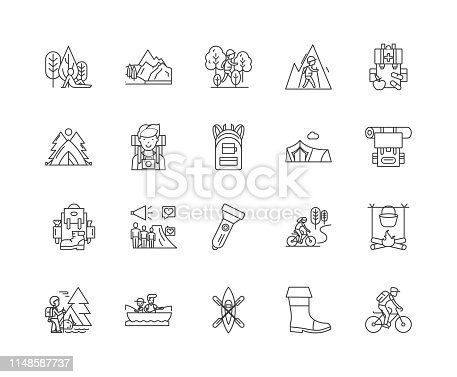 Campsites line icons, linear signs, vector set, outline concept illustration