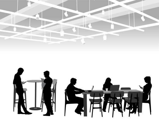 ilustrações, clipart, desenhos animados e ícones de relaxamento de café do campus - college people laptop