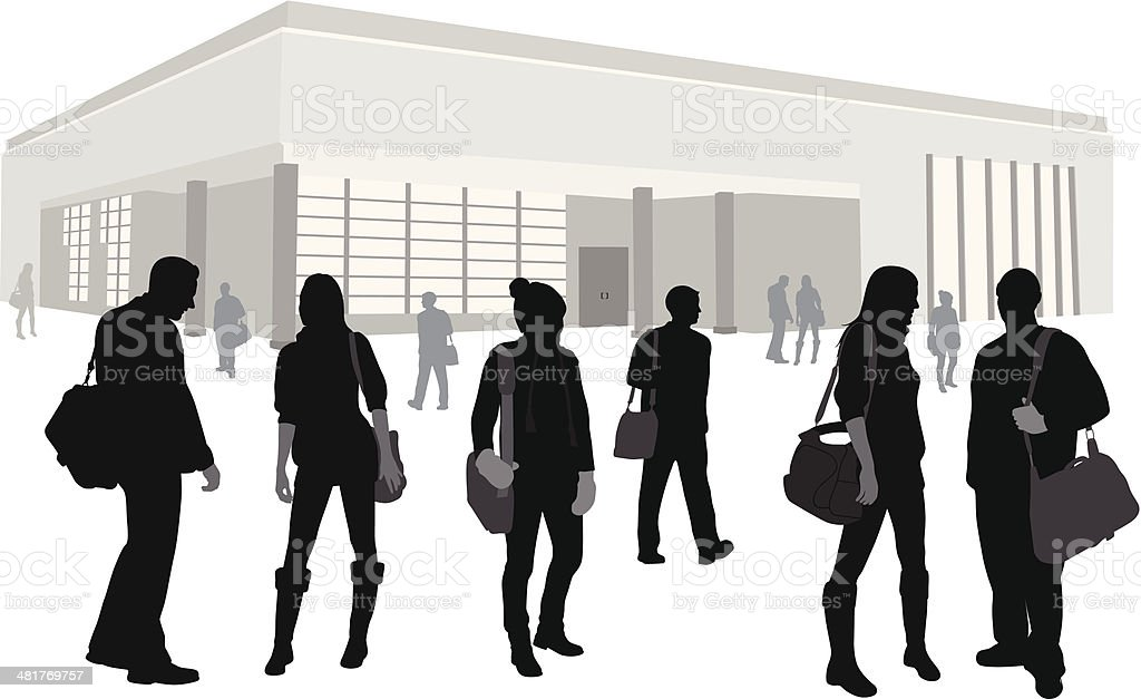Campus Crowd Vector Silhouette royalty-free stock vector art