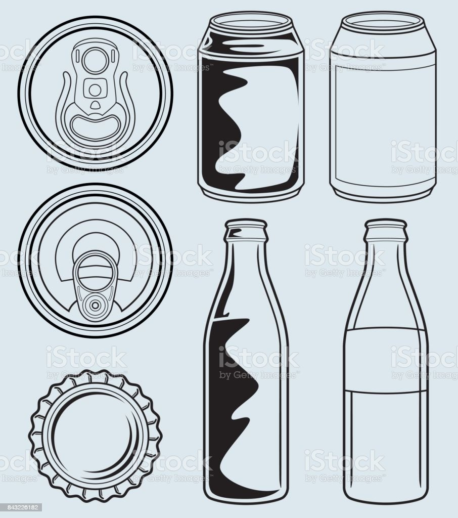 Can And Glass Bottle Containers vector art illustration