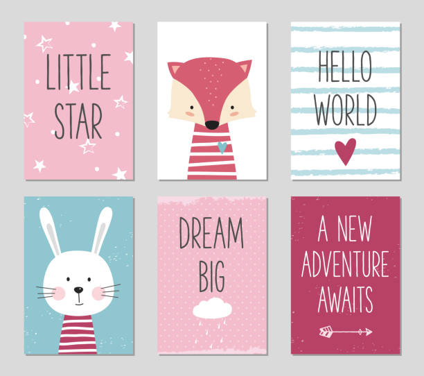 Can be used for baby shower, birthday, party invitation. Birthday cards with cartoon fox and bunny for baby girl and kids. Can be used for baby shower, birthday, party invitation. baby shower stock illustrations