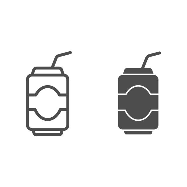 Can drink line and glyph icon. Soda vector illustration isolated on white. Beverage outline style design, designed for web and app. Eps 10. Can drink line and glyph icon. Soda vector illustration isolated on white. Beverage outline style design, designed for web and app. Eps 10 alcohol drink silhouettes stock illustrations