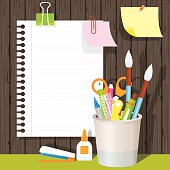 Can Holder with Office Supplies and Stationery Paper Background