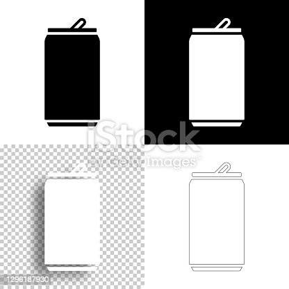 istock Can. Icon for design. Blank, white and black backgrounds - Line icon 1296187930