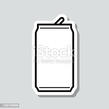 istock Can. Icon sticker on gray background 1309788998