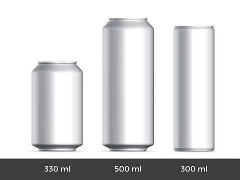 3D can mockup. Vector aluminium beer or soda can blank template