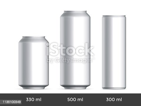 3D can mockup. Vector aluminium beer and slim soda can blank template
