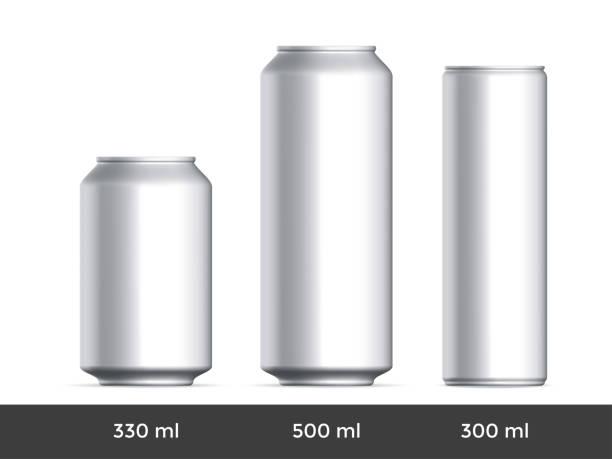 illustrazioni stock, clip art, cartoni animati e icone di tendenza di 3d can mockup. vector aluminium beer or soda can blank template - latte
