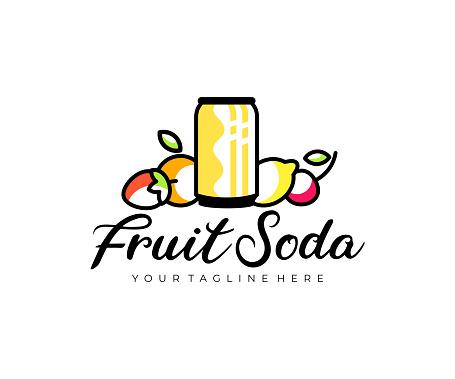 Can of fruit soda, fruit, strawberry, orange, lemon and cherry, design. Drink, food, fruit juice and soft drink, vector design and illustration