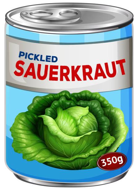 können eingelegte sauerkraut - sauerkraut stock-grafiken, -clipart, -cartoons und -symbole