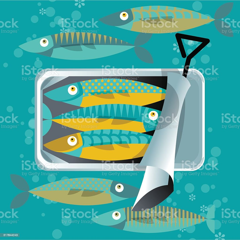 Can of sardines. vector art illustration