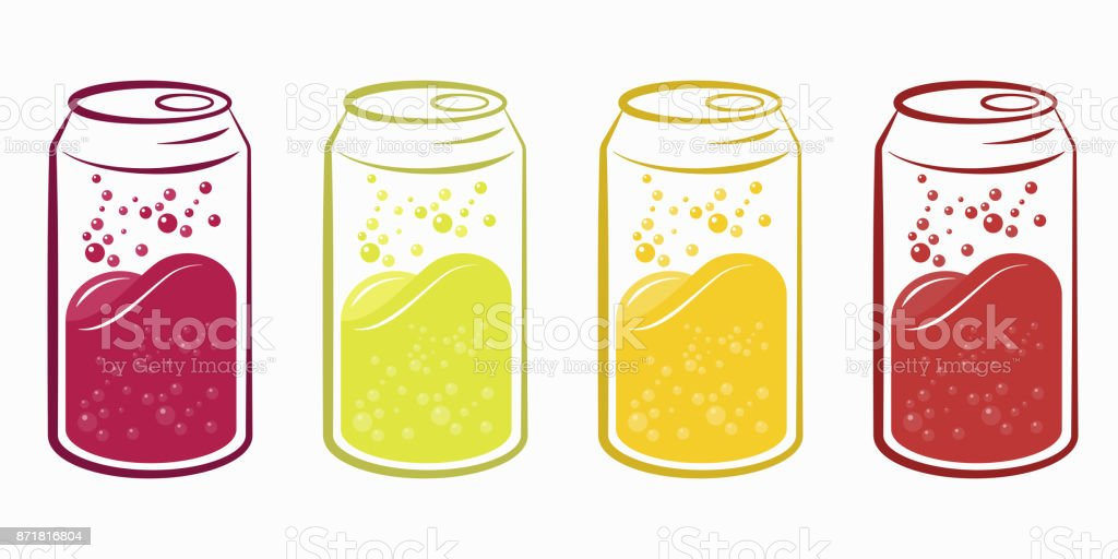 Can of sparkling juices, Juicy soft drink can vector set. vector art illustration