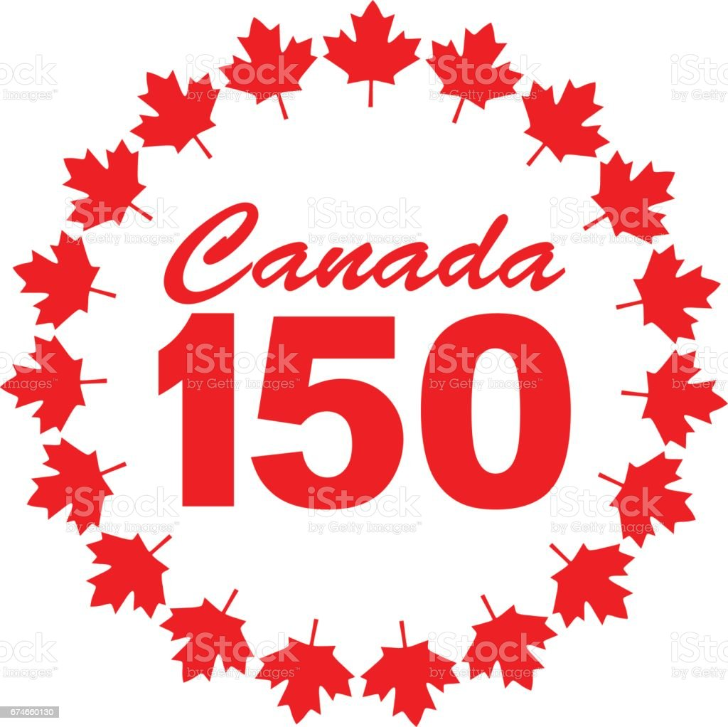 Canada 150 Graphic With Maple Leaf Frame Stock Vector Art ...
