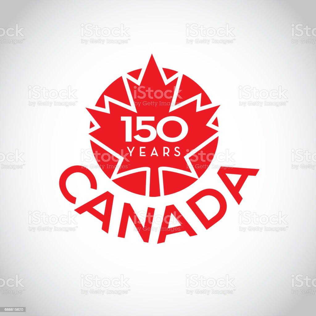 Canada 150 year anniversary label designs vector art illustration