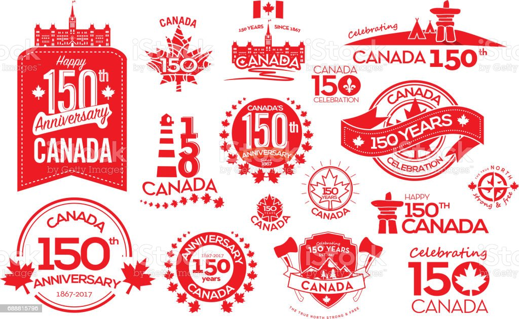 Canada 150 Year Anniversary Label Designs Stock Vector Art ...