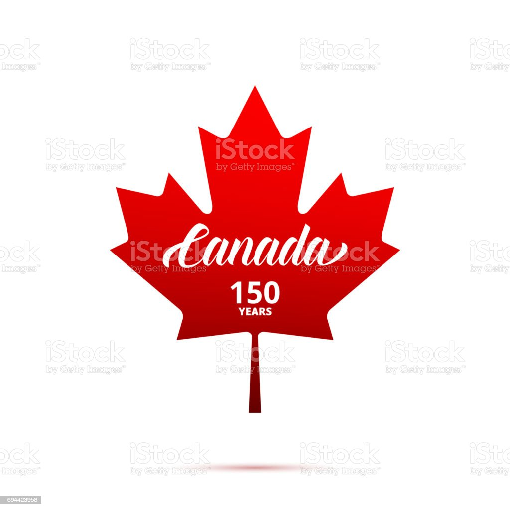 Canada 150th anniversary icon. Maple Leaf with typography. Canada 150 Years anniversary vector art illustration