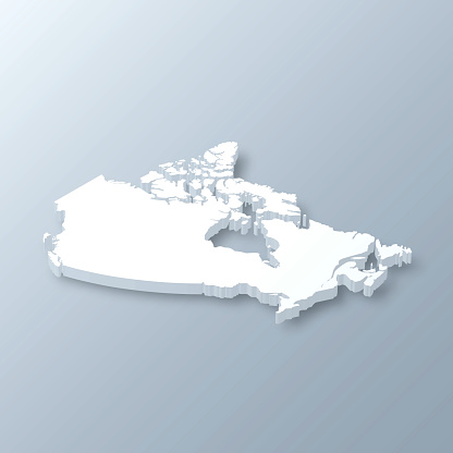 Canada 3D Map on gray background