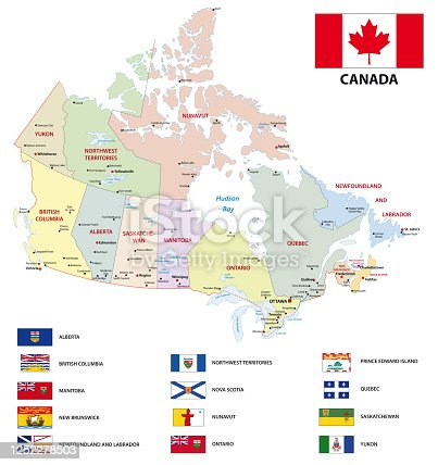 istock canada administrative and political vector map with flags 1252278503