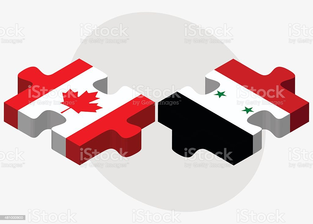 Canada and Syria Flags vector art illustration