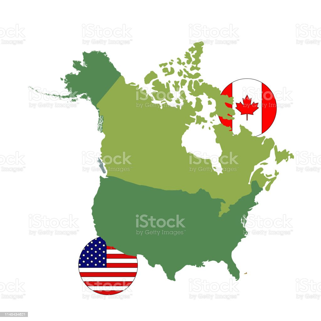 Canada And Usa Map And Flag Stock Illustration - Download ...