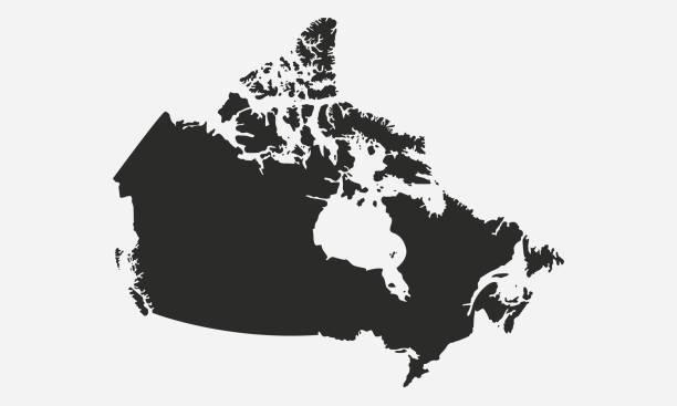 kanada czarna pusta mapa. kanadyjska mapa odizolowana na białym tle. ilustracja wektorowa - kanada stock illustrations