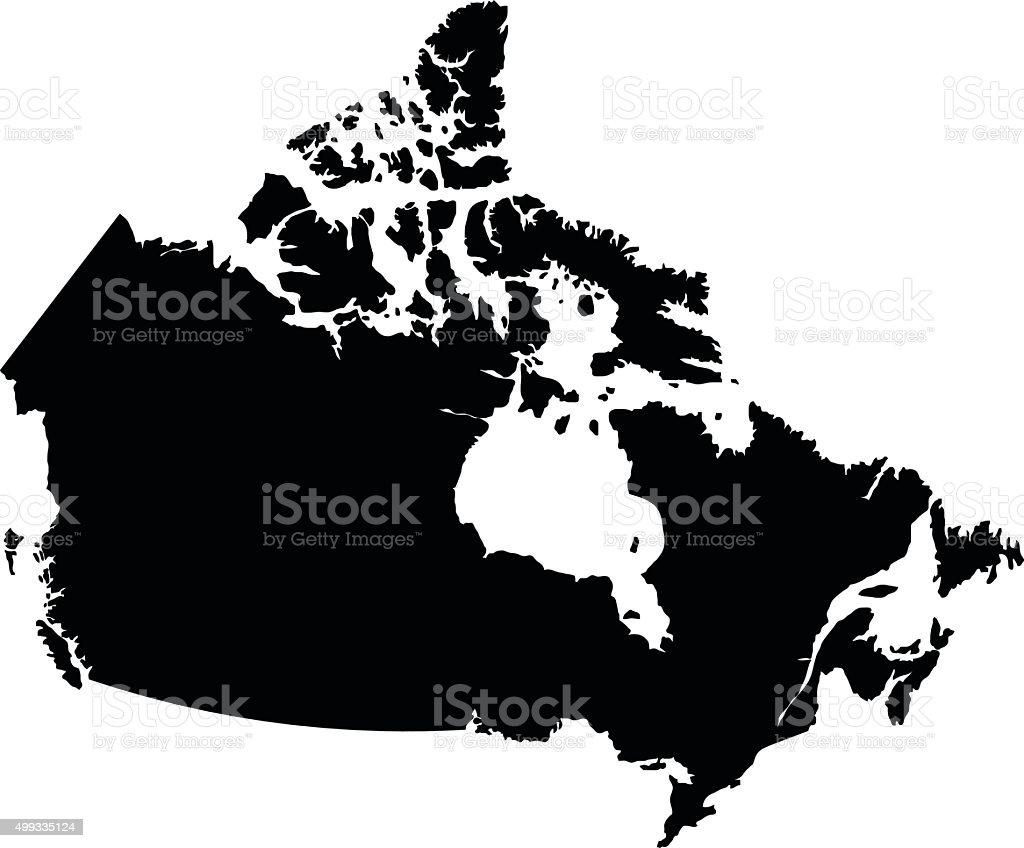 Canada black map on white background vector vector art illustration
