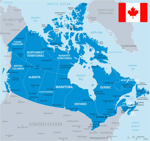 33 - Canada - Blue Gray 10 Map of Canada - Vector illustration mississauga stock illustrations
