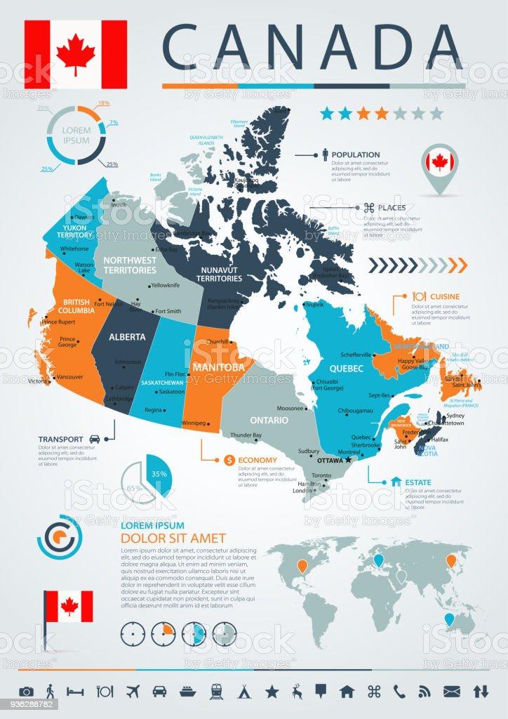 Ilustración de 12 Canadá Azulnaranja Infografía 10 y más banco de ...