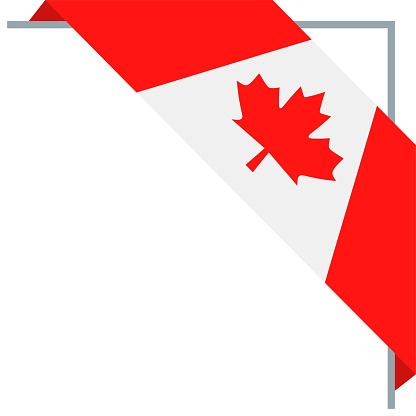 Canada - Bookmark Corner Flag Vector Flat Icon