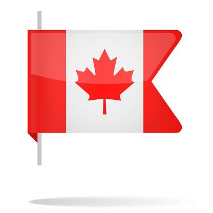 Canada - Bookmark Flag Vector Glossy Icon