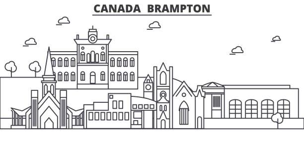 Canada, Brampton architecture line skyline illustration. Linear vector cityscape with famous landmarks, city sights, design icons. Landscape wtih editable strokes Canada, Brampton architecture line skyline illustration. Linear vector cityscape with famous landmarks, city sights, design icons. Editable strokes mississauga stock illustrations