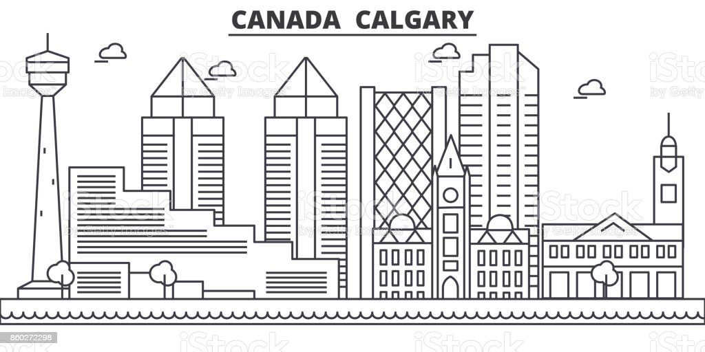 Canada, Calgary architecture line skyline illustration. Linear vector cityscape with famous landmarks, city sights, design icons. Landscape wtih editable strokes vector art illustration