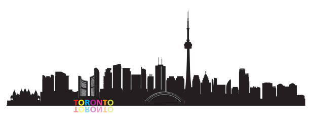canada city skyline. toronto landmarks cityscape view. travel  background. tourism concept with modern buildings - toronto stock illustrations